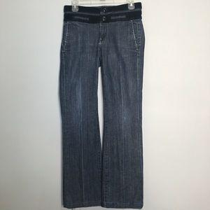 26 7 For All Mankind black velvet trimmed jeans